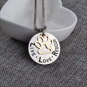 Live Love Rescue paw necklace